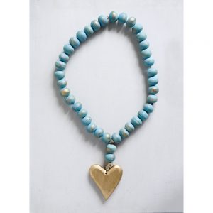 Bead Strand with Heart Pendant