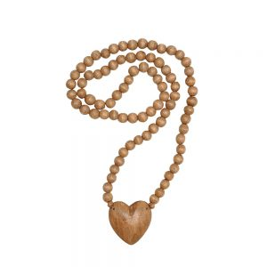 Wood Hand-Carved Heart Bead Strand